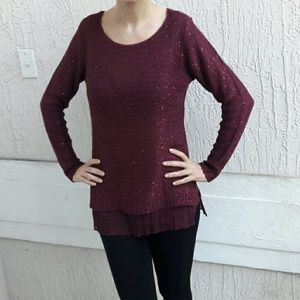 Sweater in burgundy color with subtle sequins